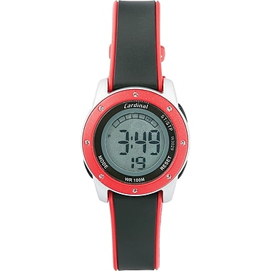 Cardinal Ladies Digital Watch, Silver Plastic Case With Black/Red Plastic Strap