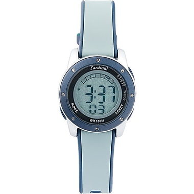 Cardinal Ladies Digital Watch, Silver Plastic Case With Grey/Navy Plastic Strap