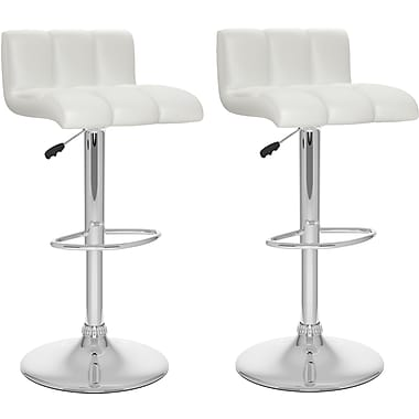 CorLiving™ Low Back Adjustable Bar Stool, WhiteTufted Leatherette, set of 2