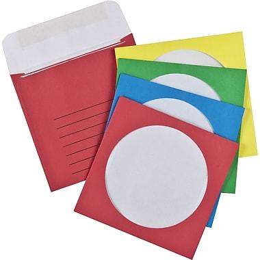 Staples® - Enveloppes pour CD/DVD, couleurs variées, 4 7/8 po x 5 po, bte/76
