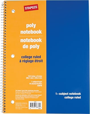 Staples® 1 Subject Poly Notebook, 8