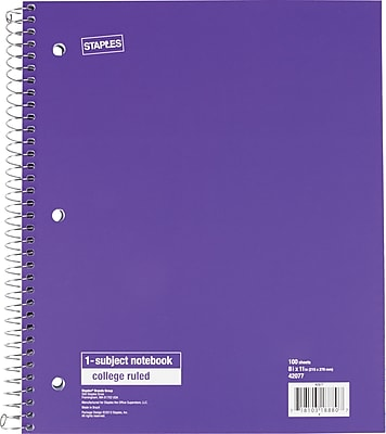 Staples® 1 Subject Notebook, College Ruled, Purple, 8 1/2