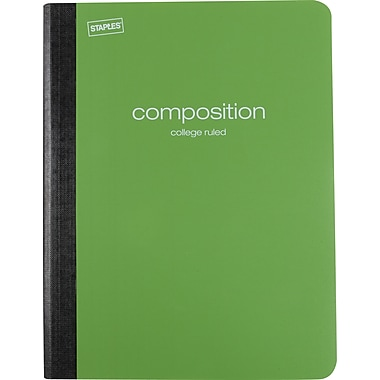 Staples® Poly Composition Notebook, College Ruled, Green , 9-3/4