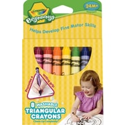Beginnings Washable Triangular Crayons, Wax, 8 Per Box