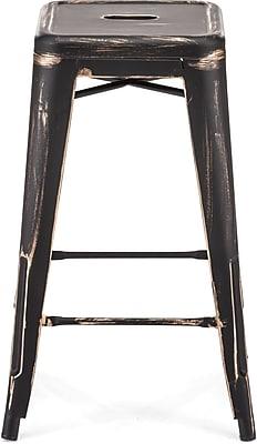 Zuo® Steel Marius Counter Stool, Antique Black Gold
