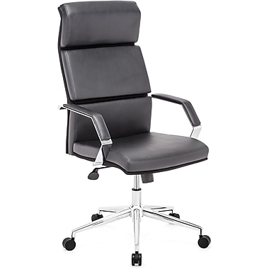 Zuo Lider Pro High-Back Faux-Leather Office Chair, Fixed Arms, Black