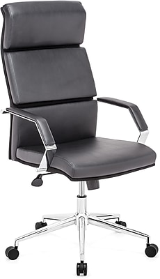 Zuo Lider Pro High-Back Faux-Leather Office Chair; Fixed Arms, Black