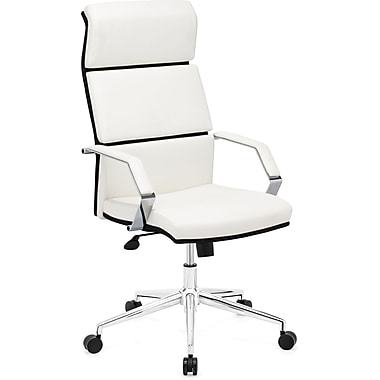 Zuo 205311 Lider Pro Leatherette High-Back Executive Chair with Fixed Arms, White