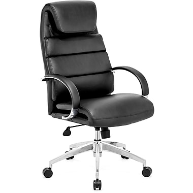 Zuo 205315 Lider Comfort Leatherette High-Back Executive Chair with Fixed Arms, Black