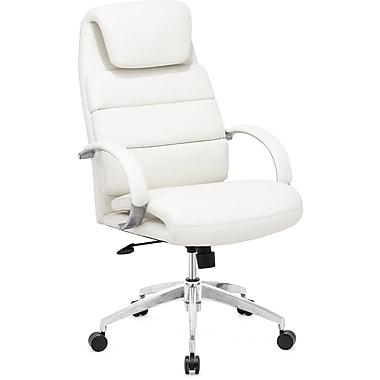 ZuoMD – Chaise de bureau Lider Comfort en similicuir à dossier élevé, blanc