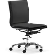 Zuo Mid-Back Leatherette Office Chair, Armless, Black
