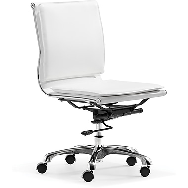 Zuo® Lider Plus Leatherette Mid Back Office Chair, White