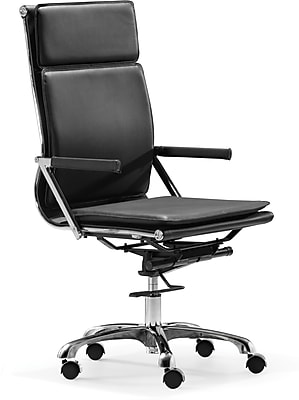 Zuo 215231 Lider Plus Leatherette High-Back Executive Chair with Fixed Arms, Black