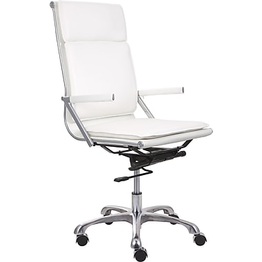Zuo® Lider Plus Leatherette High Back Office Chair, White
