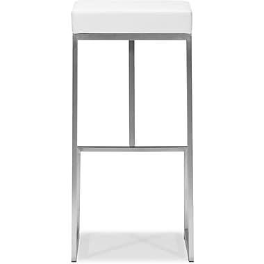 Zuo Plush Leatherette Darwen Bar Chair, White