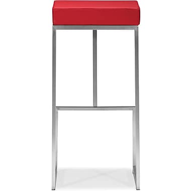 Zuo® Plush Leatherette Darwen Bar Chair, Red