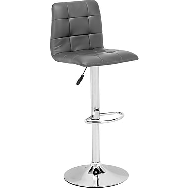 Zuo® Leatherette Oxygen Bar Stool, Gray
