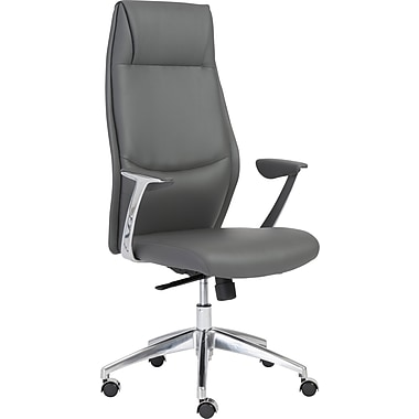 Euro Style 00472GRY Crosby Leatherette High-Back Task Chair with Fixed Arms, Gray