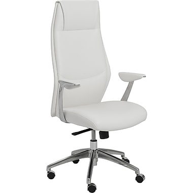 Euro Style 00472WHT Crosby Leatherette High-Back Task Chair with Fixed Arms, White