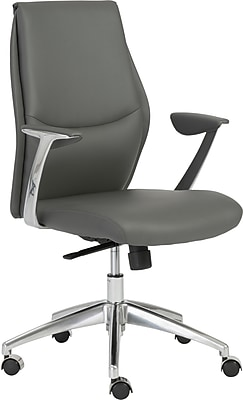 Euro Style 00473GRY Crosby Leatherette Low-Back Task Chair with Fixed Arms, Gray