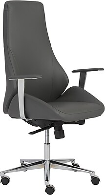 Euro Style 00474GRY Bergen Leatherette High-Back Task Chair with Fixed Arms, Gray