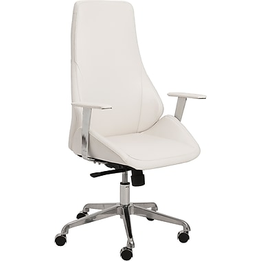 Euro Style 00474WHT Bergen Leatherette High-Back Task Chair with Fixed Arms, White
