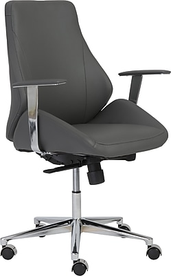 Euro Style 00475GRY Bergen Leatherette Low-Back Executive Chair with Fixed Arms, Gray