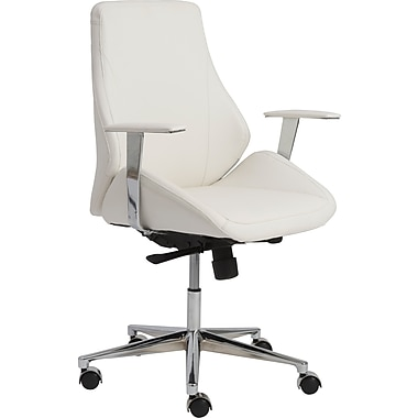 Euro Style 00475WHT Bergen Leatherette Low-Back Executive Chair with Fixed Arms, White