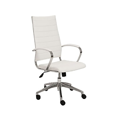 Euro Style 00476WHT Axel Leatherette High-Back Task Chair with Fixed Arms, White