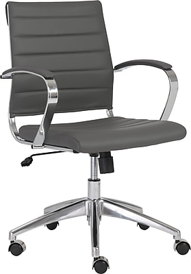 Euro Style 00477GRY Axel Leatherette Low-Back Executive Chair with Fixed Arms, Gray