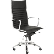 Euro Style 00675BLK Dirk Leatherette High-Back Task Chair with Fixed Arms, Black