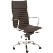 Euro Style 00675BRN Dirk Leatherette High-Back Task Chair with Fixed Arms, Brown