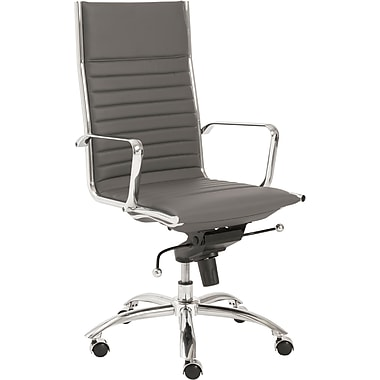 Euro Style 00675GRY Dirk Leatherette High-Back Task Chair with Fixed Arms, Gray