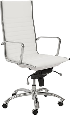 Euro Style 00675WHT Dirk Leatherette High-Back Task Chair with Fixed Arms, White