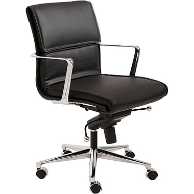 Euro Style™ Leif Leatherette Low Back Office Chair, Black