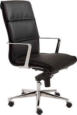 Euro Style 00679BLK Leif Leatherette High-Back Task Chair with Fixed Arms, Black