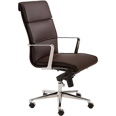 Euro Style 00679BRN Leif Leatherette High-Back Task Chair with Fixed Arms, Brown