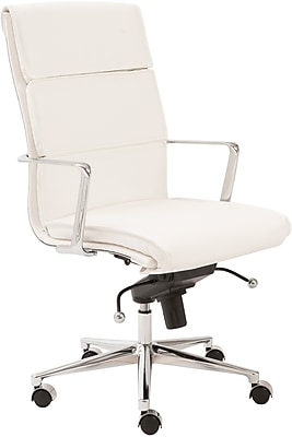 Euro Style 00679WHT Leif Leatherette High-Back Task Chair with Fixed Arms, White