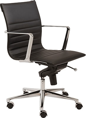 Euro Style 00681BLK Kyler Leatherette Low-Back Task Chair with Fixed Arms, Black