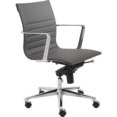 Euro Style 00681GRY Kyler Leatherette Low-Back Task Chair with Fixed Arms, Gray