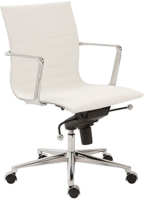 Euro Style 00681WHT Kyler Leatherette Low-Back Task Chair with Fixed Arms, White