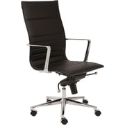 Euro Style 00682BLK Kyler Leatherette High-Back Task Chair with Fixed Arms, Black