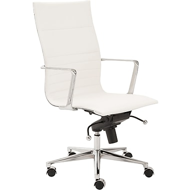 Euro Style 00682WHT Kyler Leatherette High-Back Task Chair with Fixed Arms, White