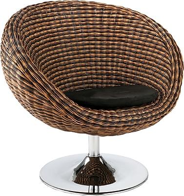 Euro Style™ Oliana Rattan Swivel Chair, Triple Brown