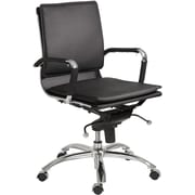 Euro Style 01263BLK Gunar Pro Leatherette Low-Back Task Chair with Fixed Arms, Black
