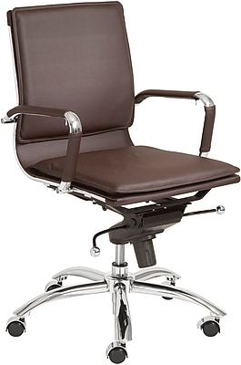 Euro Style 01263BRN Gunar Pro Leatherette Low-Back Task Chair with Fixed Arms, Brown