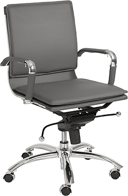 Euro Style 01263GRY Gunar Pro Leatherette Low-Back Task Chair with Fixed Arms, Gray