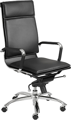 Euro Style 01264BLK Gunar Pro Leatherette High-Back Task Chair with Fixed Arms, Black