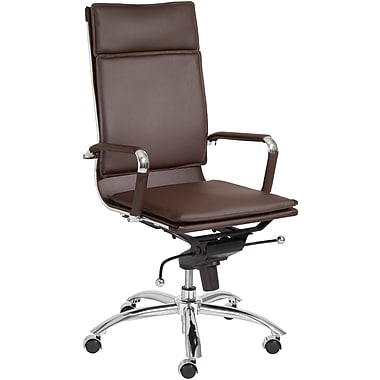 Euro Style 01264BRN Gunar Pro Leatherette High-Back Task Chair with Fixed Arms, Brown