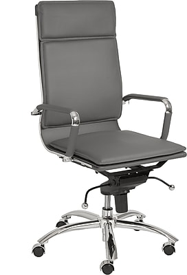 Euro Style 01264GRY Gunar Pro Leatherette High-Back Task Chair with Fixed Arms, Gray